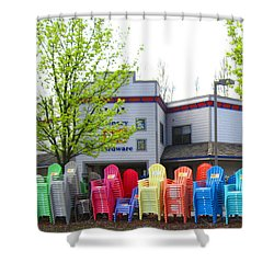 Line Of Rainbow Chairs Shower Curtain by Kym Backland