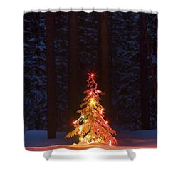 Lit Christmas Tree In A Forest Shower Curtain by Carson Ganci