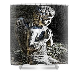 Little Angel Statue Shower Curtain by Danuta Bennett