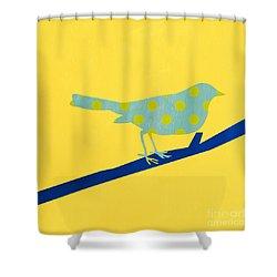 Little Blue Bird Shower Curtain by Linda Woods