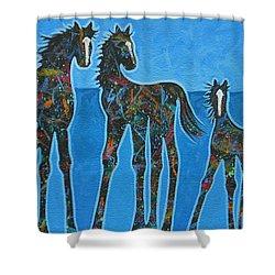 Little Blue Shower Curtain by Lance Headlee