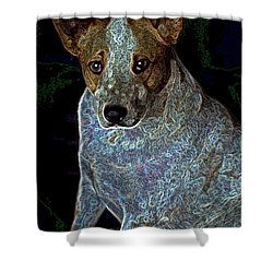 Little Blue Shower Curtain by One Rude Dawg Orcutt