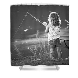 Little Fishing Girl Shower Curtain