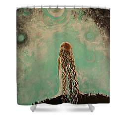 Little Galaxie One Shower Curtain by Leslie Allen