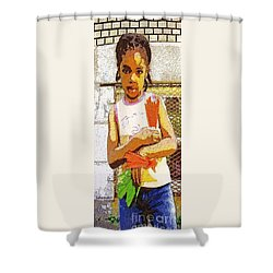 Little Girl With Red Licorice And Maple Leaf Shower Curtain by Lydia Lockett