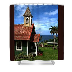 Little Green Church In Hawaii Shower Curtain