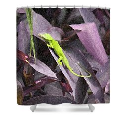 Shower Curtain featuring the photograph Little Green Lizard by Donna  Smith