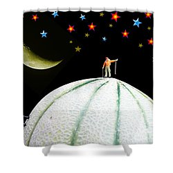 Little People Hiking On Fruits Under Starry Night Shower Curtain by Paul Ge