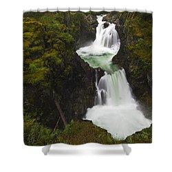 Little Qualicum Falls Provincial Park Shower Curtain by Mike Grandmailson