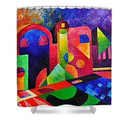 Little Village By Sandralira Shower Curtain