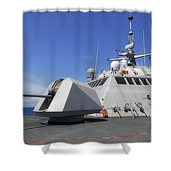 Littoral Combat Ship Uss Freedom Shower Curtain by Stocktrek Images