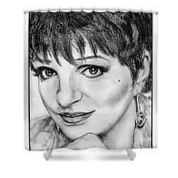 Shower Curtain featuring the drawing Liza Minnelli In 2006 by J McCombie
