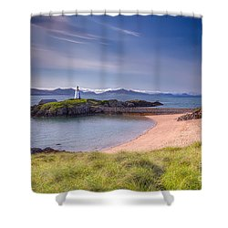 Llanddwyn Beacon Shower Curtain by Adrian Evans
