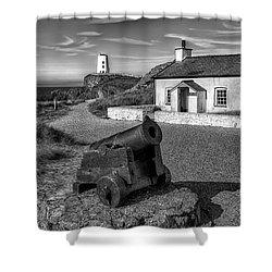Llanddwyn Cannon V2 Shower Curtain by Adrian Evans