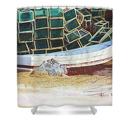 Lobster Traps And Dory Shower Curtain