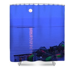 Shower Curtain featuring the photograph Lobstering Moon by Francine Frank