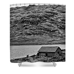 Loch Arklet Boathouse Shower Curtain by Chris Thaxter