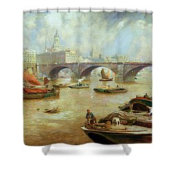 London Bridge From Bankside Shower Curtain by Sir David Murray