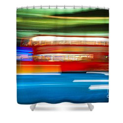 Shower Curtain featuring the photograph London Bus Motion by Luciano Mortula