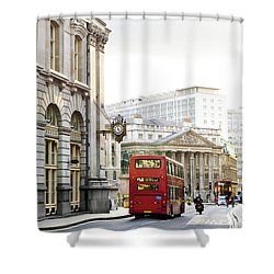 London Street With View Of Royal Exchange Building Shower Curtain by Elena Elisseeva