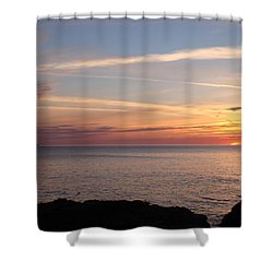 Shower Curtain featuring the photograph Lone Freighter On Up by Bonfire Photography