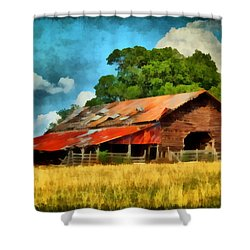 Shower Curtain featuring the painting Long Road Barn by Lynne Jenkins