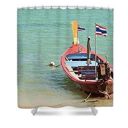 Longtail Boat At Sea Shower Curtain by Bill Brennan