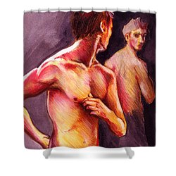 Look Over Your Shoulder Shower Curtain by Rene Capone