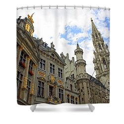 Looking Up At The Grand Place Shower Curtain by Carol Groenen