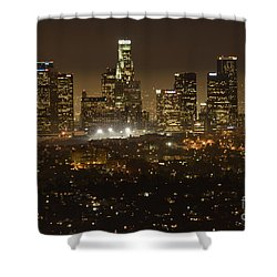 Los Angeles Skyline At Night Shower Curtain by Bob Christopher