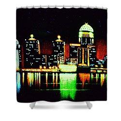 Louisville In Black Light Shower Curtain by Thomas Kolendra