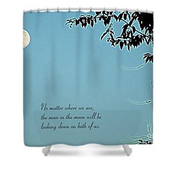Love Notes Man In The Moon Shower Curtain by Renee Trenholm