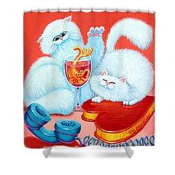 Love Puffs Shower Curtain by Baron Dixon