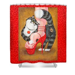 Love Pump Red Shower Curtain by Baron Dixon