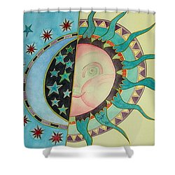 Shower Curtain featuring the painting Love You Day And Night by Anna Ruzsan