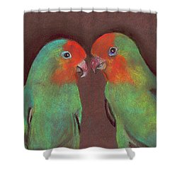 Shower Curtain featuring the drawing Lovebirds by Wendy McKennon