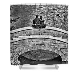 Lovers On A Bridge  Shower Curtain
