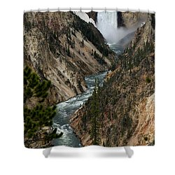 Lower Falls And Yellowstone River Shower Curtain by Living Color Photography Lorraine Lynch