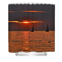 Red Maritime Dream Shower Curtain