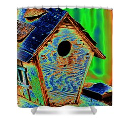 Luminescent Birdhouse Shower Curtain
