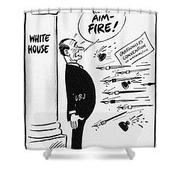 Lyndon B. Johnson: Cartoon Shower Curtain by Granger