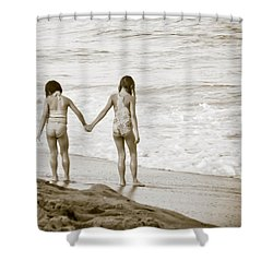 M Is For Memories Shower Curtain by Trish Tritz