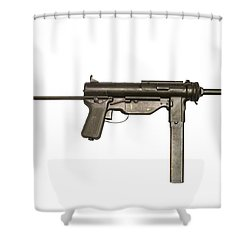 M3a1 Submachine Gun, 45 Caliber Shower Curtain by Andrew Chittock