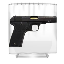 Mab Model D French Police Issue Pistol Shower Curtain by Andrew Chittock