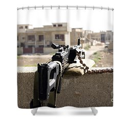 Machine Gun Post At A Prison Shower Curtain by Terry Moore