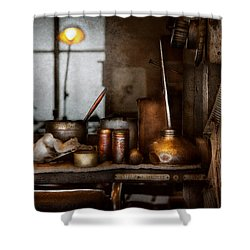 Machinist - Tool - Got Oil  Shower Curtain by Mike Savad