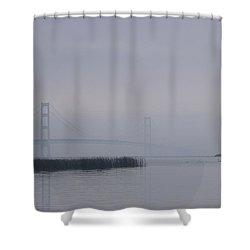 Mackinac Bridge And Swans Shower Curtain by Randy Pollard