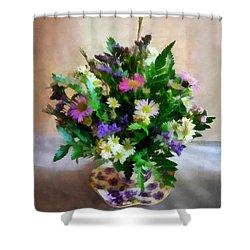 Magenta And White Mum Bouquet Shower Curtain by Susan Savad