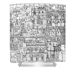 Magical Architecture Of Yemen In Ink  Shower Curtain by Adendorff Design