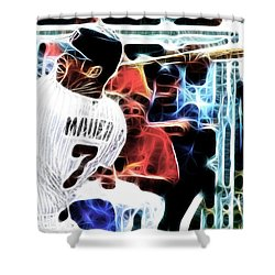 Magical Joe Mauer Shower Curtain by Paul Van Scott